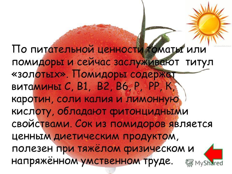 По питательной ценности томаты или помидоры и сейчас заслуживают титул «золотых». Помидоры содержат витамины С, В1, В2, В6, Р, РР, К, каротин, соли калия и лимонную кислоту, обладают фитонцидными свойствами. Сок из помидоров является ценным диетическ