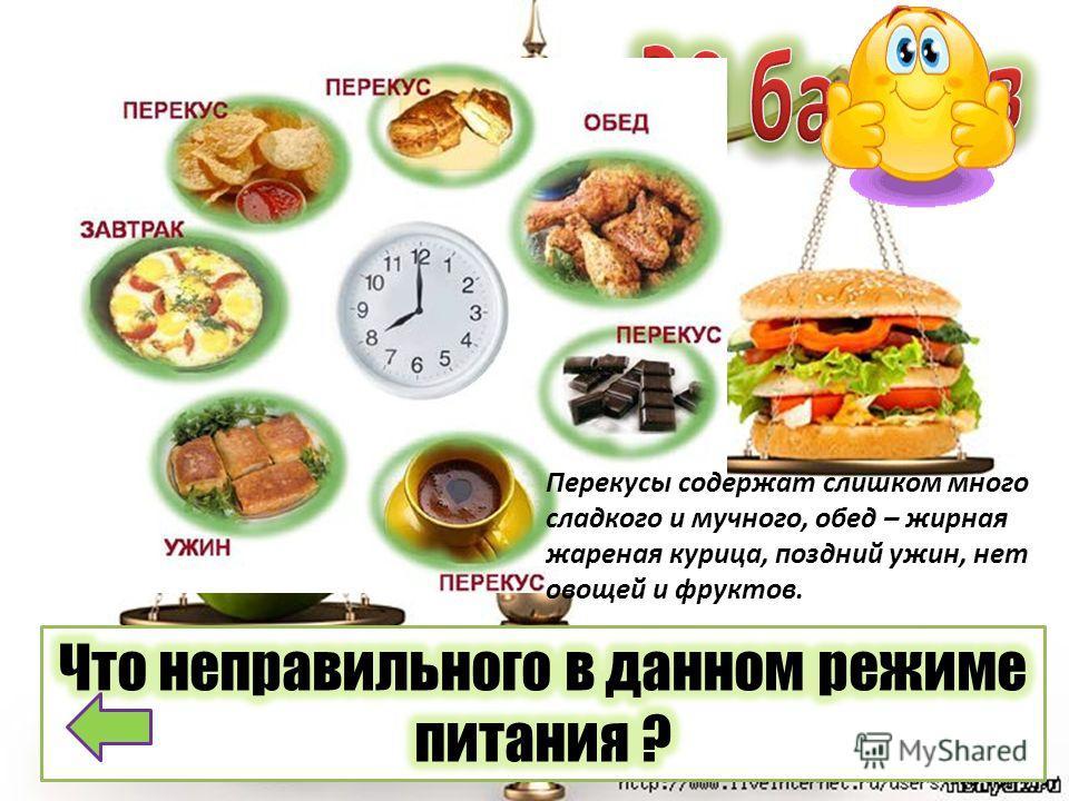 Перекусы содержат слишком много сладкого и мучного, обед – жирная жареная курица, поздний ужин, нет овощей и фруктов.
