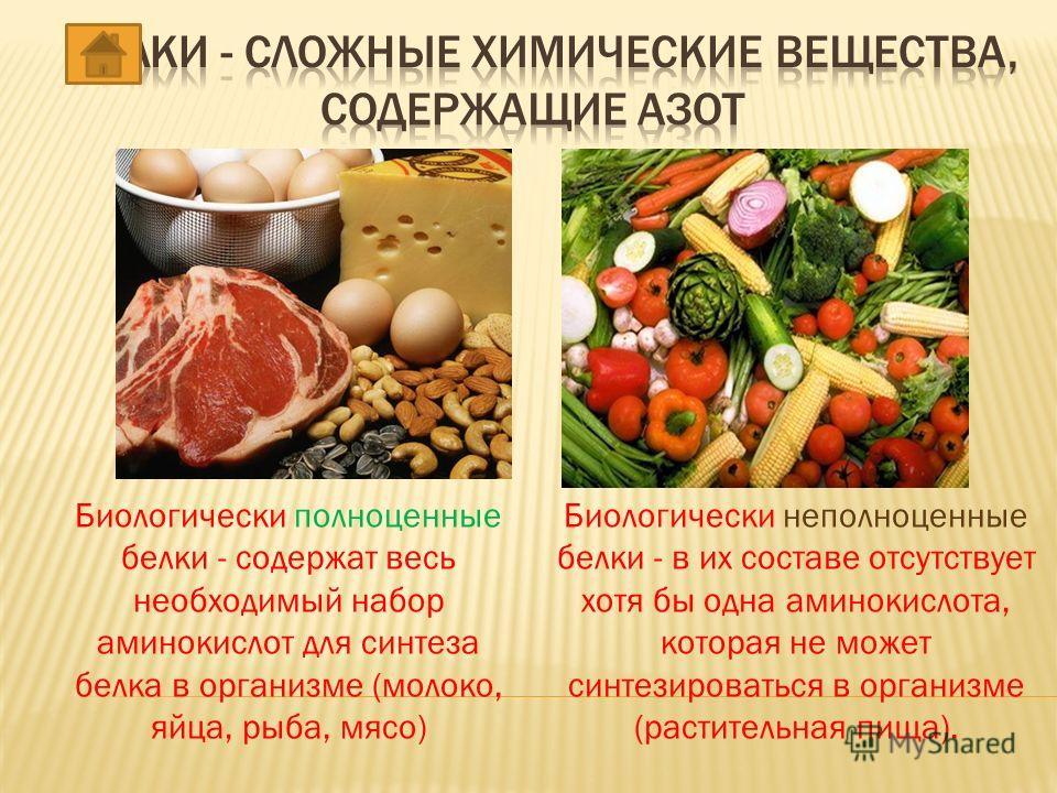 Биологически полноценные белки - содержат весь необходимый набор аминокислот для синтеза белка в организме (молоко, яйца, рыба, мясо) Биологически неполноценные белки - в их составе отсутствует хотя бы одна аминокислота, которая не может синтезироват