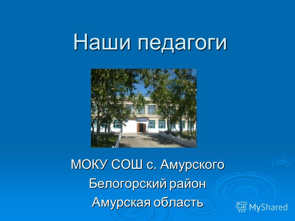 Наши педагоги МОКУ СОШ с. Амурского Белогорский район Амурская область