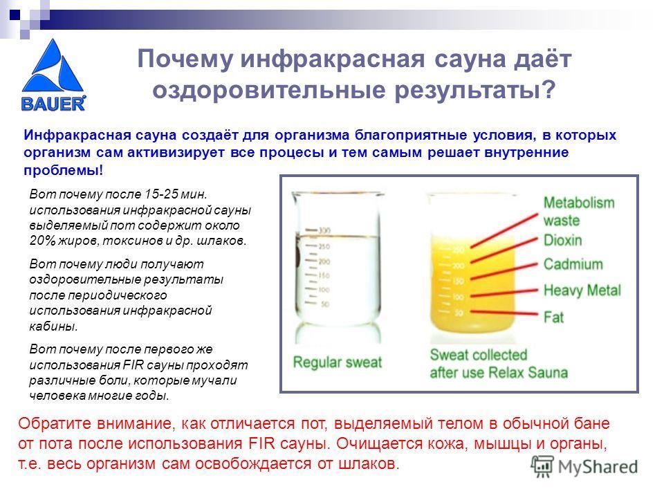 Инфракрасная сауна создаёт для организма благоприятные условия, в которых организм сам активизирует все процесы и тем самым решает внутренние проблемы! Вот почему после 15-25 мин. использования инфракрасной сауны выделяемый пот содержит около 20% жир