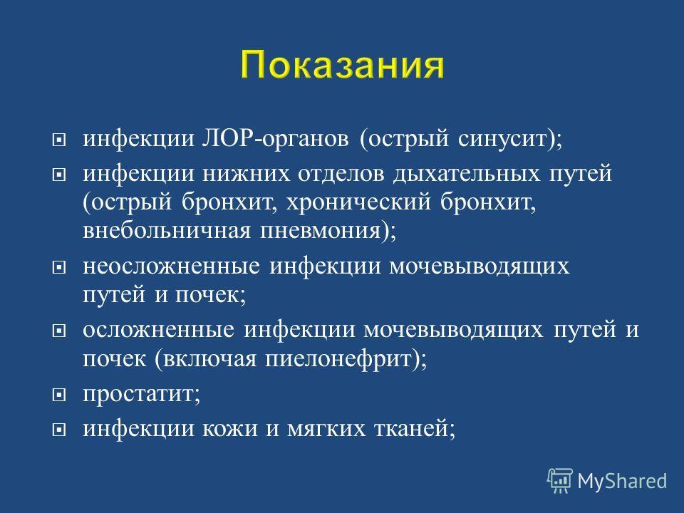 инфекции ЛОР - органов ( острый синусит ); инфекции нижних отделов дыхательных путей ( острый бронхит, хронический бронхит, внебольничная пневмония ); неосложненные инфекции мочевыводящих путей и почек ; осложненные инфекции мочевыводящих путей и поч