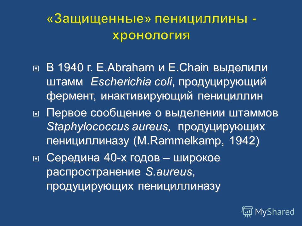 В 1940 г. E.Abraham и E.Chain выделили штамм Escherichia coli, продуцирующий фермент, инактивирующий пенициллин В 1940 г. E.Abraham и E.Chain выделили штамм Escherichia coli, продуцирующий фермент, инактивирующий пенициллин Первое сообщение о выделен