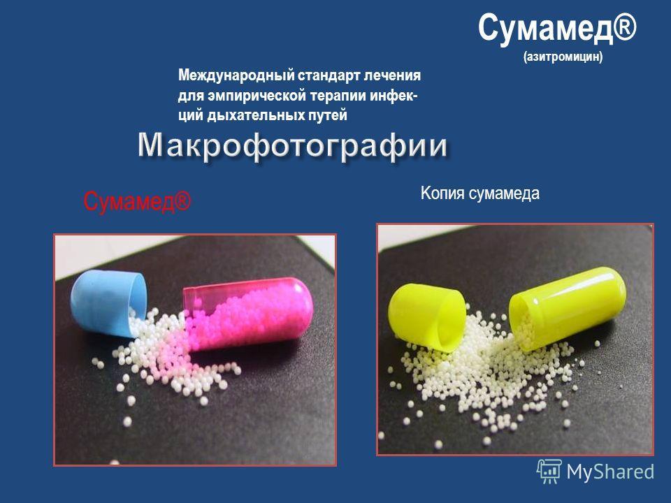 Сумамед® Kопия сумамеда Сумамед® (азитромицин) Международный стандарт лечения для эмпирической терапии инфек- ций дыхательных путей