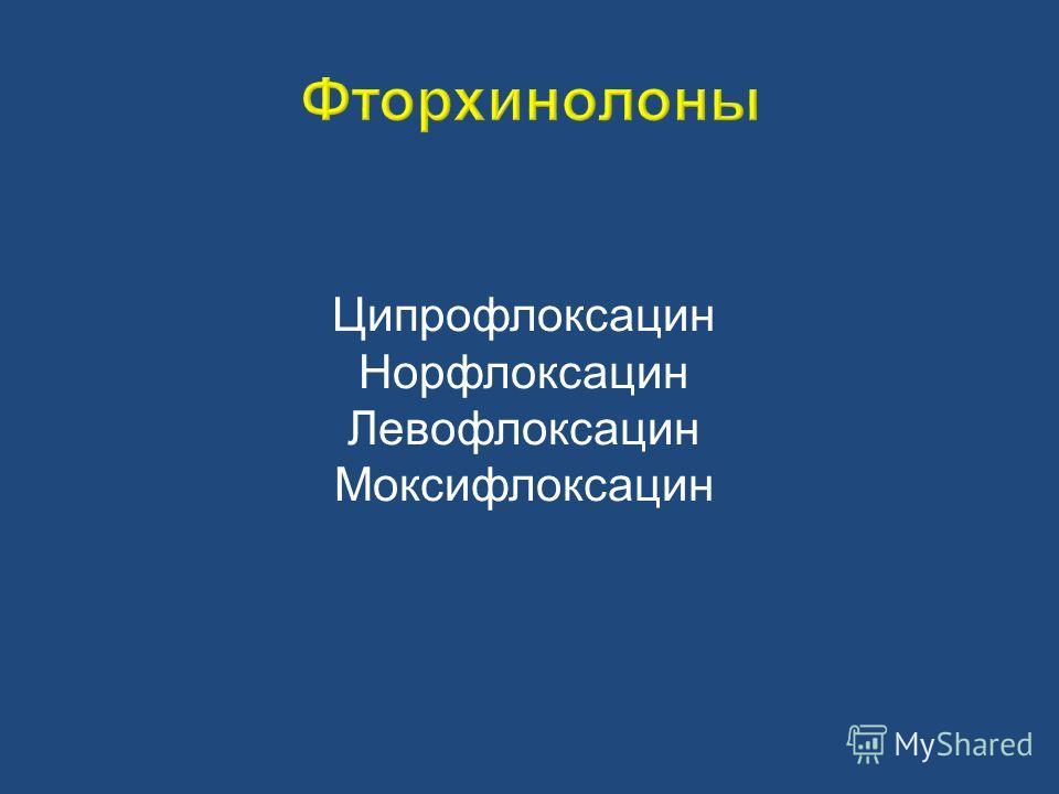 Ципрофлоксацин Норфлоксацин Левофлоксацин Моксифлоксацин