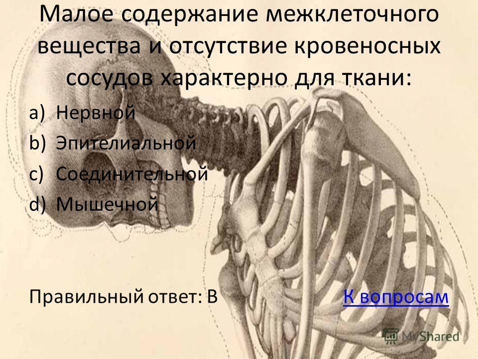 Малое содержание межклеточного вещества и отсутствие кровеносных сосудов характерно для ткани: a)Нервной b)Эпителиальной c)Соединительной d)Мышечной Правильный ответ: B К вопросамК вопросам