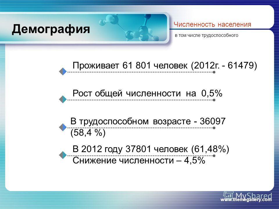 www.themegallery.com Демография Численность населения в том числе трудоспособного Проживает 61 801 человек (2012г. - 61479) Рост общей численности на 0,5% В трудоспособном возрасте - 36097 (58,4 %) В 2012 году 37801 человек (61,48%) Снижение численно
