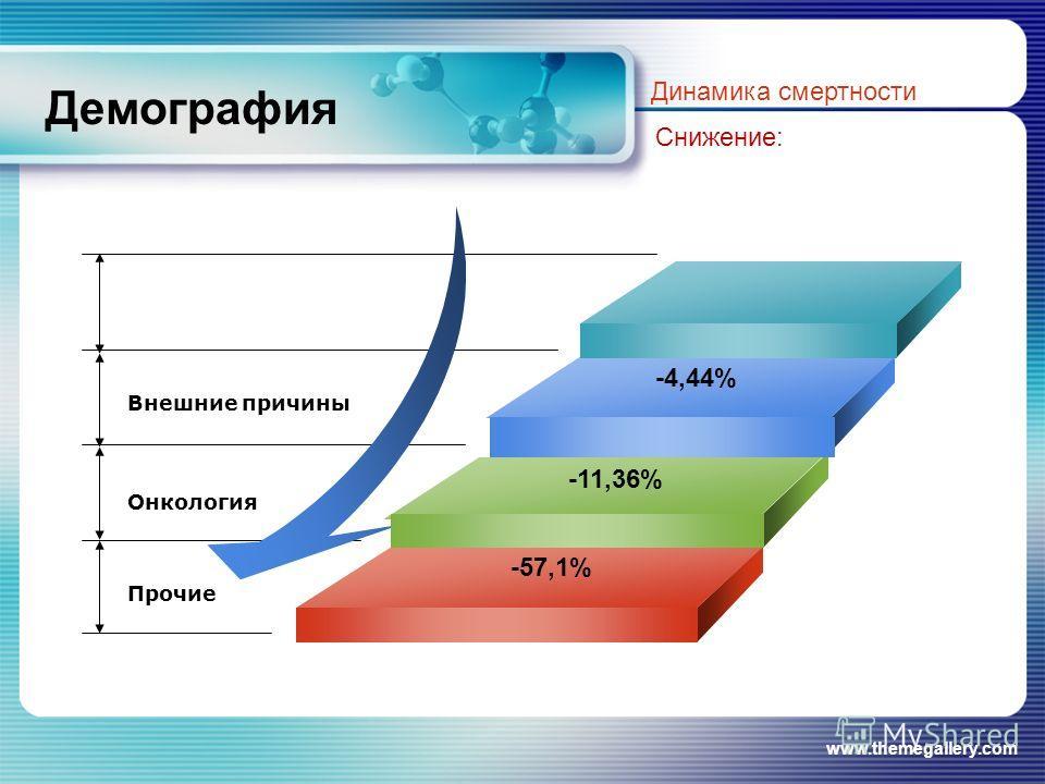 www.themegallery.com Демография Динамика смертности Снижение: -4,44% -57,1% Внешние причины Онкология Прочие -11,36%