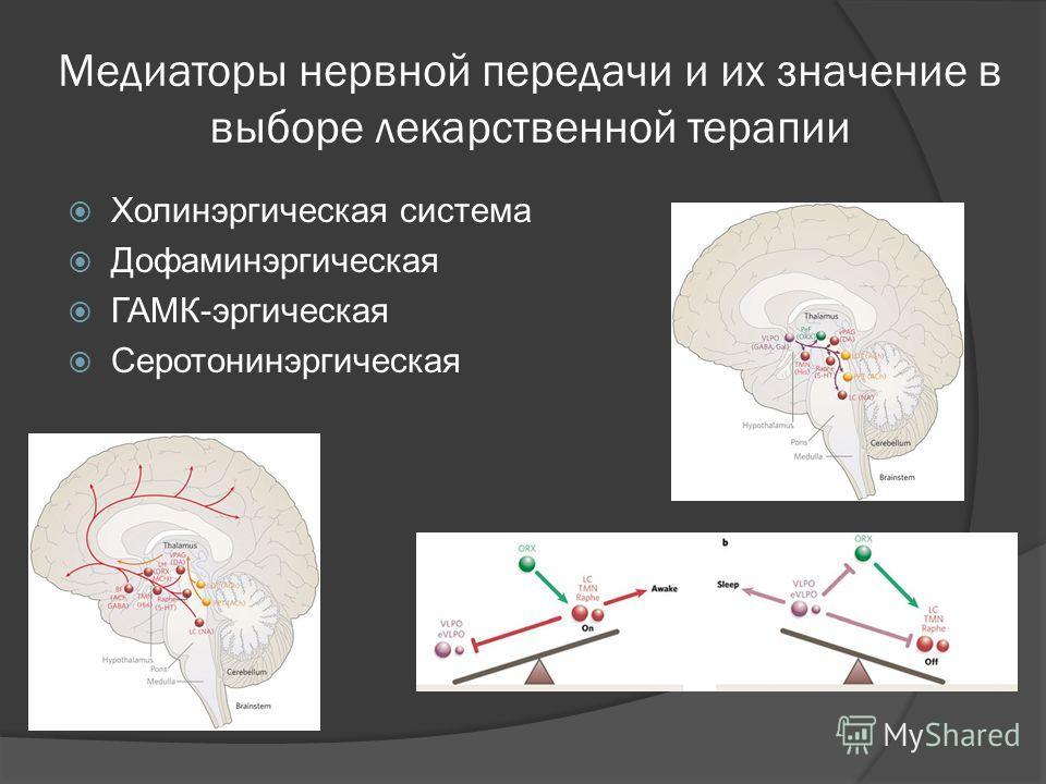 Медиаторы нервной передачи и их значение в выборе лекарственной терапии Холинэргическая система Дофаминэргическая ГАМК-эргическая Серотонинэргическая