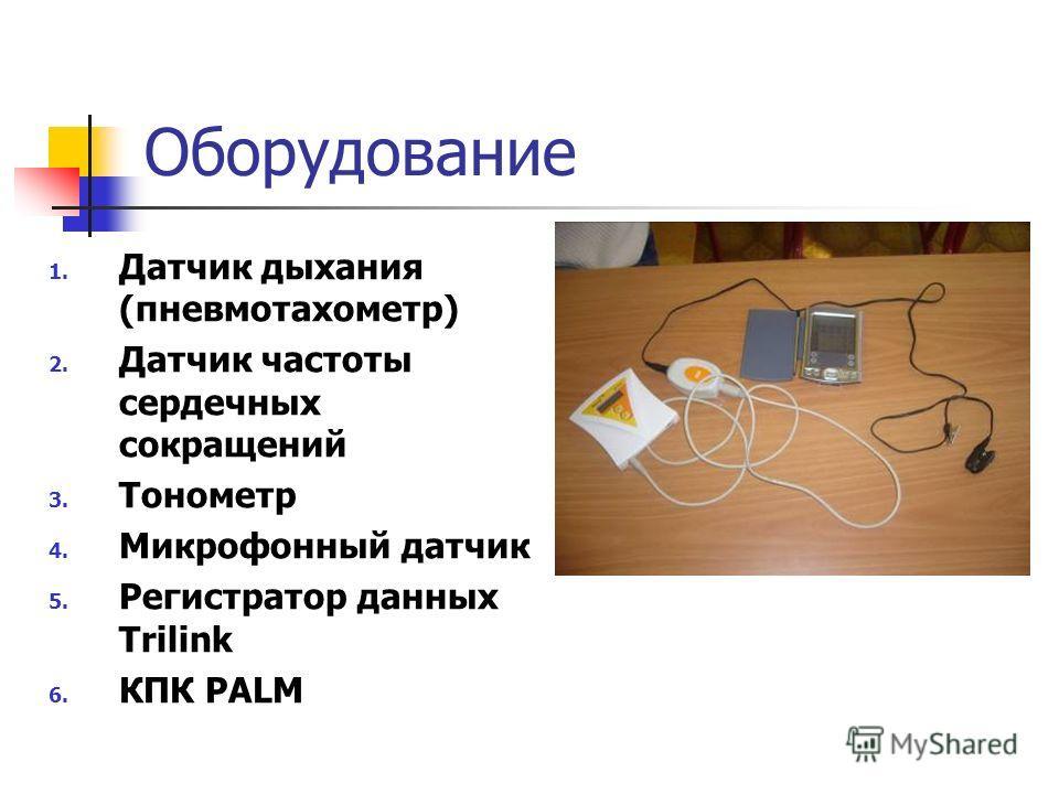 Оборудование 1. Датчик дыхания (пневмотахометр) 2. Датчик частоты сердечных сокращений 3. Тонометр 4. Микрофонный датчик 5. Регистратор данных Trilink 6. КПК PALM