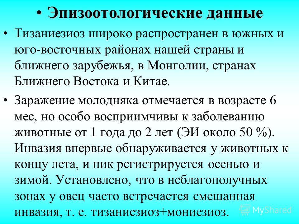 Эпизоотологические данныеЭпизоотологические данные Тизаниезиоз широко распространен в южных и юго-восточных районах нашей страны и ближнего зарубежья, в Монголии, странах Ближнего Востока и Китае. Заражение молодняка отмечается в возрасте 6 мес, но о