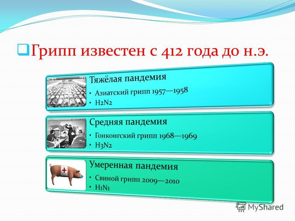 Грипп известен с 412 года до н.э.