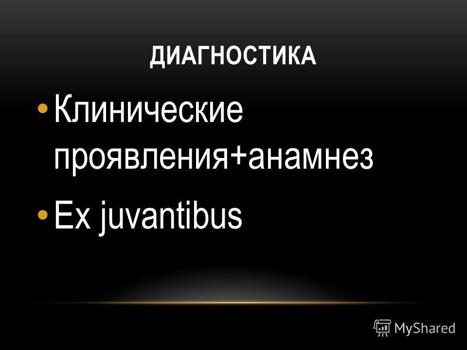 ДИАГНОСТИКА Клинические проявления+анамнез Ex juvantibus