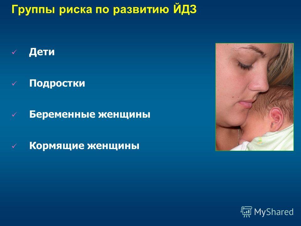 Группы риска по развитию ЙДЗ Дети Подростки Беременные женщины Кормящие женщины