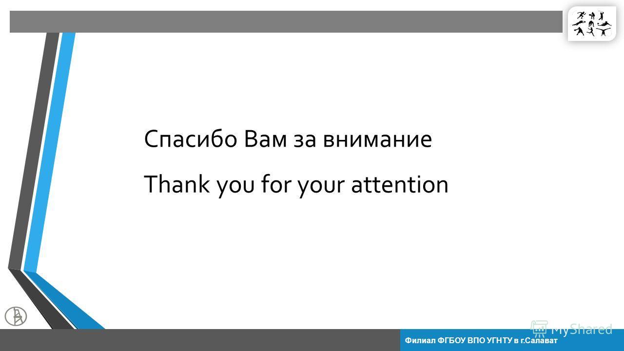Филиал ФГБОУ ВПО УГНТУ в г.Салават Спасибо Вам за внимание Thank you for your attention