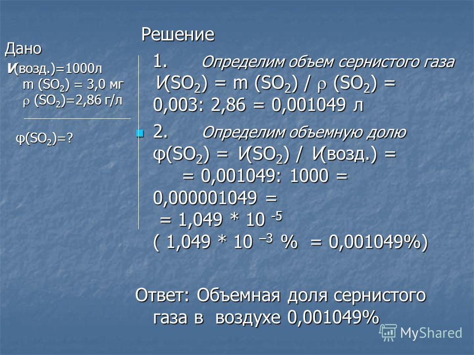 Дано V(возд.)=1000л m (SO2) = 3,0 мг (SO2)=2,86 г/л φ(SO2)=? Решение 1. Определим объем сернистого газа V(SO2) = m (SO2) / (SO2) = 0,003: 2,86 = 0,001049 л 2. Определим объемную долю φ(SO2) = V(SO2) / V(возд.) = = 0,001049: 1000 = 0,000001049 = = 1,0