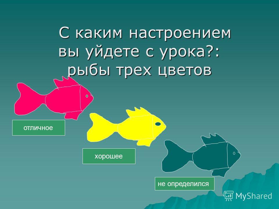 С каким настроением С каким настроением вы уйдете с урока?: рыбы трех цветов отличное хорошее не определился