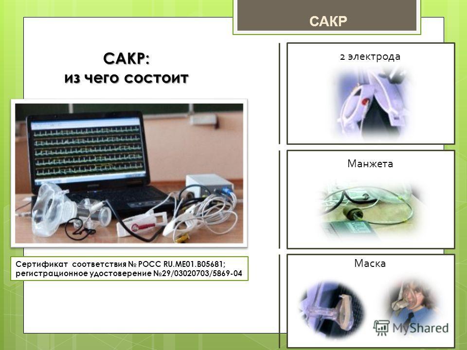 2 электрода Манжета Маска САКР: из чего состоит Сертификат соответствия РОСС RU.ME01.B05681; регистрационное удостоверение 29/03020703/5869-04 САКР