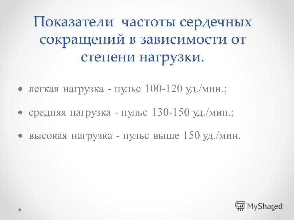 Показатели частоты сердечных сокращений в зависимости от степени нагрузки. легкая нагрузка - пульс 100-120 уд./мин.; средняя нагрузка - пульс 130-150 уд./мин.; высокая нагрузка - пульс выше 150 уд./мин.