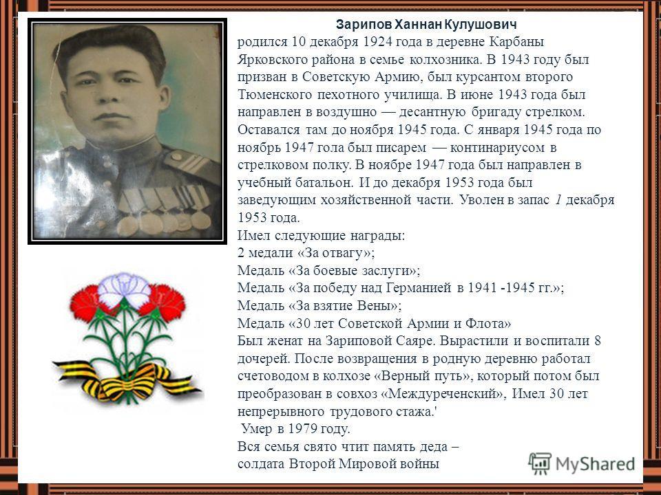 Зарипов Ханнан Кулушович родился 10 декабря 1924 года в деревне Карбаны Ярковского района в семье колхозника. В 1943 году был призван в Советскую Армию, был курсантом второго Тюменского пехотного училища. В июне 1943 года был направлен в воздушно дес