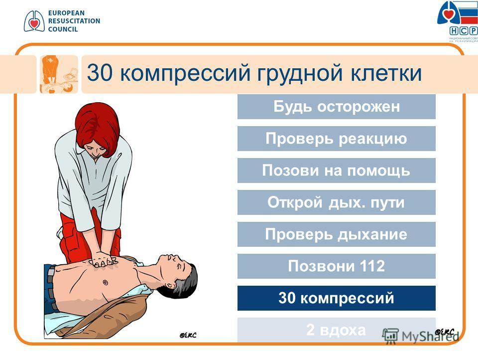 30 компрессий грудной клетки Approach safely Будь осторожен Проверь реакцию Позови на помощь Открой дых. пути Проверь дыхание Позвони 112 30 компрессий 2 вдоха