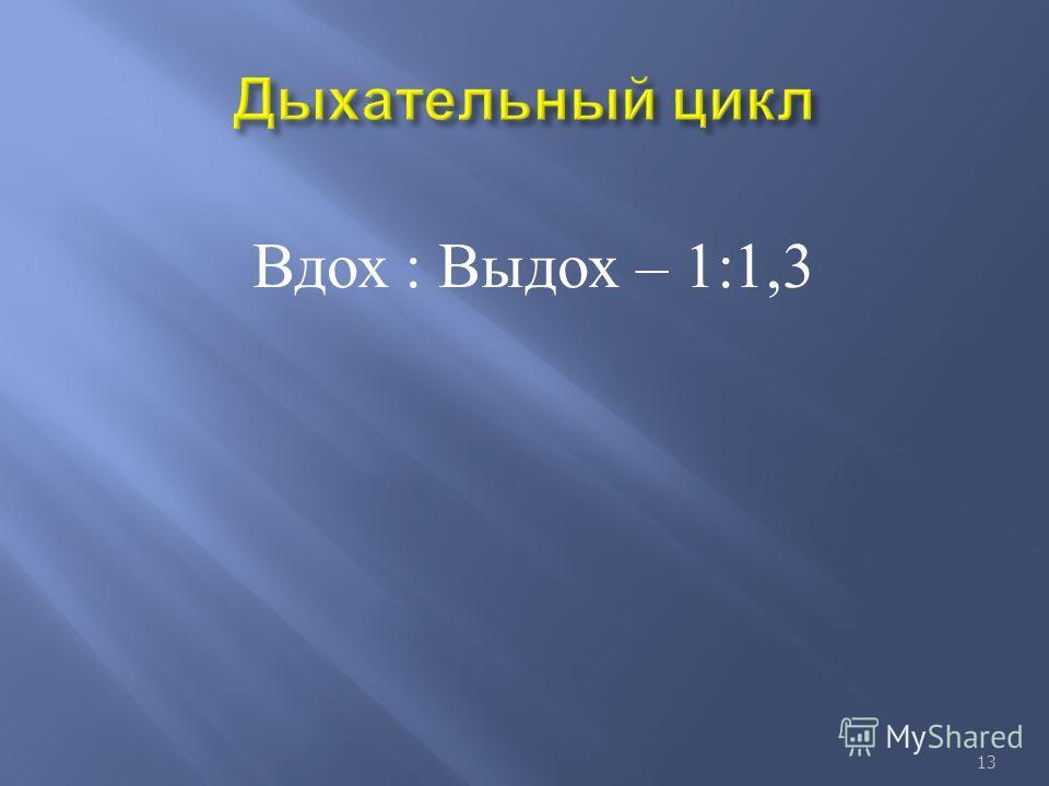 Вдох : Выдох – 1:1,3 13