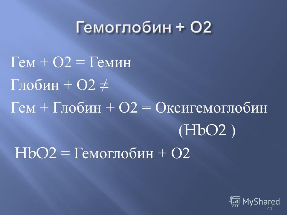 Гем + О 2 = Гемин Глобин + О 2 Гем + Глобин + О 2 = Оксигемоглобин (HbO2 ) HbO2 = Гемоглобин + О 2 41