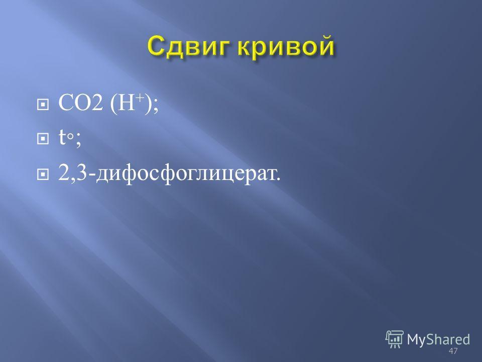 СО 2 ( Н + ); t; 2,3- дифосфоглицерат. 47