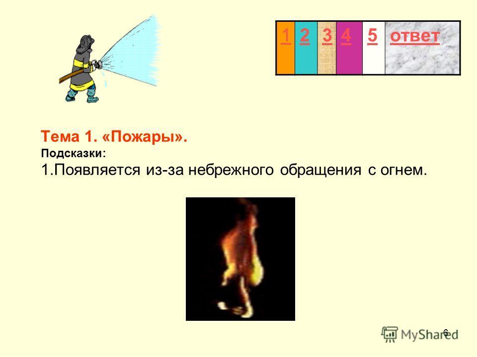 6 Тема 1. «Пожары». Подсказки: 1.Появляется из-за небрежного обращения с огнем. 12345ответ