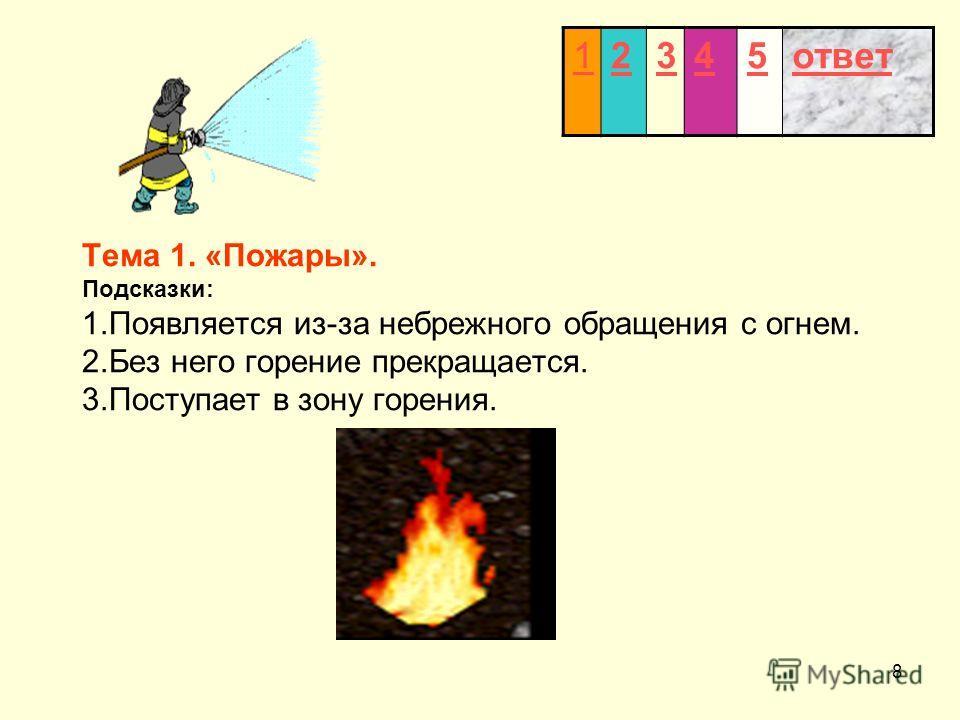8 Тема 1. «Пожары». Подсказки: 1.Появляется из-за небрежного обращения с огнем. 2.Без него горение прекращается. 3.Поступает в зону горения. 12345ответ