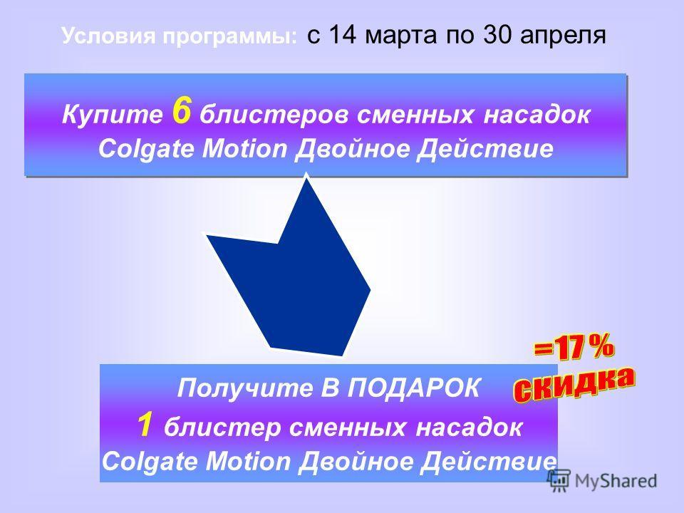 Купите 6 блистеров сменных насадок Colgate Motion Двойное Действие Купите 6 блистеров сменных насадок Colgate Motion Двойное Действие Условия программы: с 14 марта по 30 апреля Получите В ПОДАРОК 1 блистер сменных насадок Colgate Motion Двойное Дейст