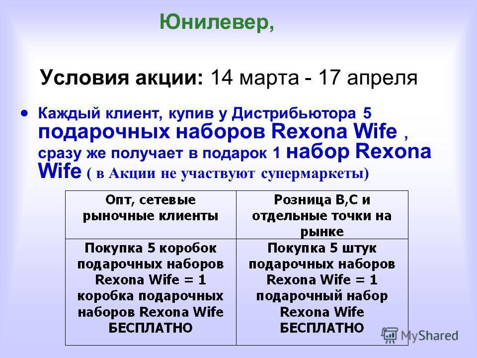 Условия акции: 14 марта - 17 апреля Каждый клиент, купив у Дистрибьютора 5 подарочных наборов Rexona Wife, сразу же получает в подарок 1 набор Rexona Wife ( в Акции не участвуют супермаркеты) Юнилевер,