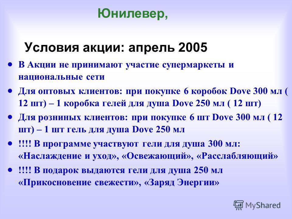 Условия акции: апрель 2005 В Акции не принимают участие супермаркеты и национальные сети Для оптовых клиентов: при покупке 6 коробок Dove 300 мл ( 12 шт) – 1 коробка гелей для душа Dove 250 мл ( 12 шт) Для розниных клиентов: при покупке 6 шт Dove 300