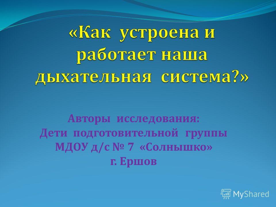 Авторы исследования: Дети подготовительной группы МДОУ д/с 7 «Солнышко» г. Ершов