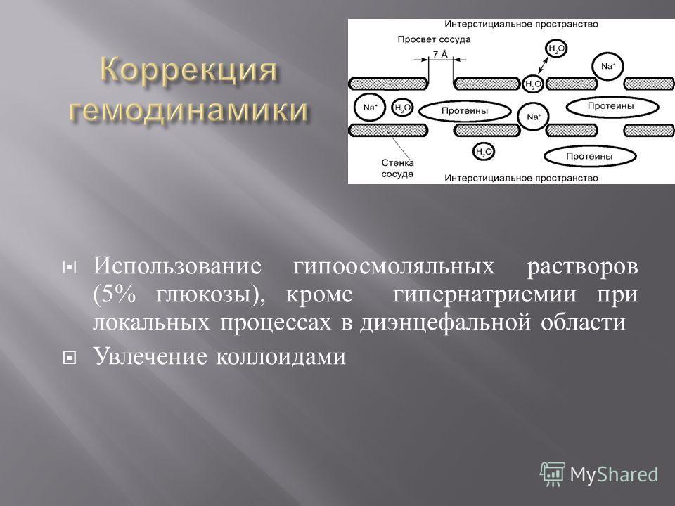 Использование гипоосмоляльных растворов (5% глюкозы ), кроме гипернатриемии при локальных процессах в диэнцефальной области Увлечение коллоидами