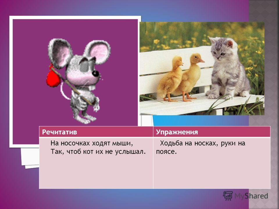 РечитативУпражнения На носочках ходят мыши, Так, чтоб кот их не услышал. Ходьба на носках, руки на поясе.