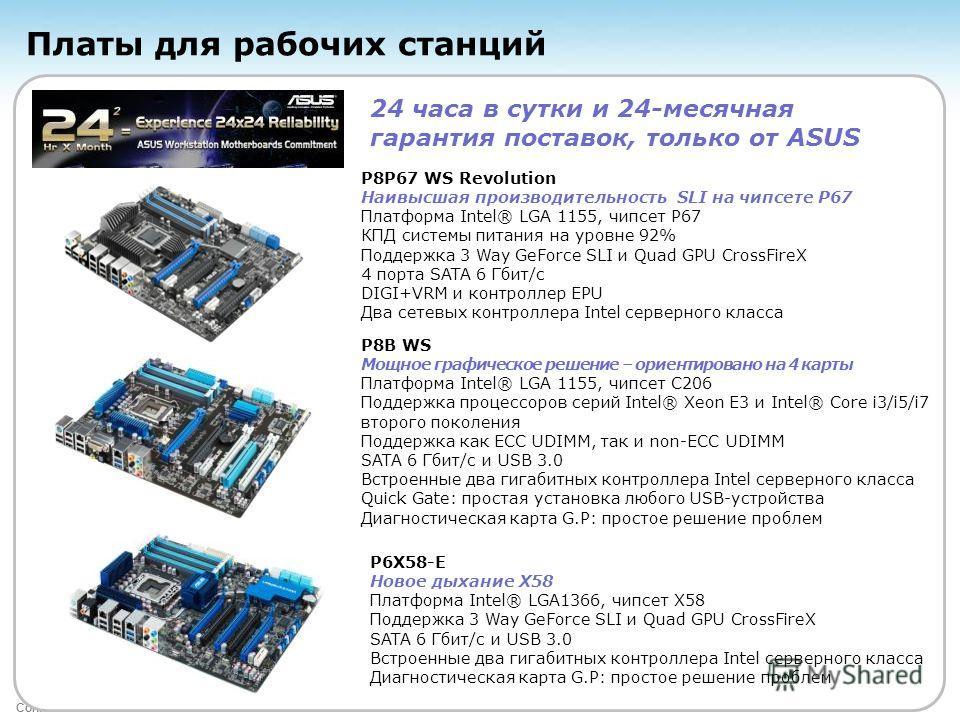 Confidential Платы для рабочих станций P8P67 WS Revolution Наивысшая производительность SLI на чипсете P67 Платформа Intel® LGA 1155, чипсет P67 КПД системы питания на уровне 92% Поддержка 3 Way GeForce SLI и Quad GPU CrossFireX 4 порта SATA 6 Гбит/с