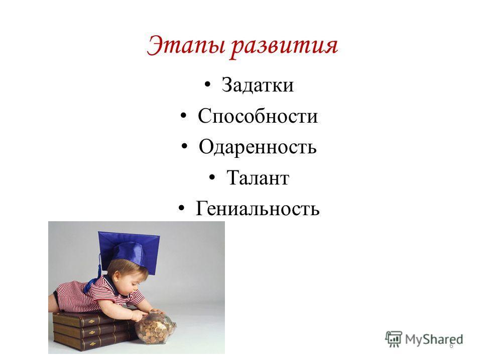 Этапы развития Задатки Способности Одаренность Талант Гениальность 6