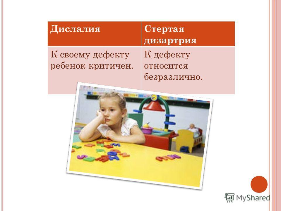 ДислалияСтертая дизартрия К своему дефекту ребенок критичен. К дефекту относится безразлично.