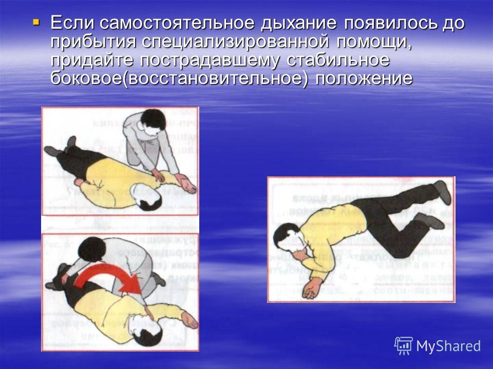 Если самостоятельное дыхание появилось до прибытия специализированной помощи, придайте пострадавшему стабильное боковое(восстановительное) положение Если самостоятельное дыхание появилось до прибытия специализированной помощи, придайте пострадавшему