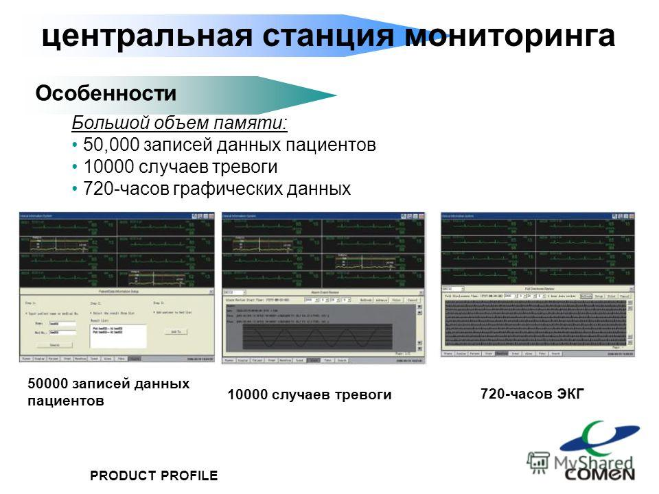 PRODUCT PROFILE центральная станция мониторинга Особенности Большой объем памяти: 50,000 записей данных пациентов 10000 случаев тревоги 720-часов графических данных 10000 случаев тревоги 50000 записей данных пациентов 720-часов ЭКГ
