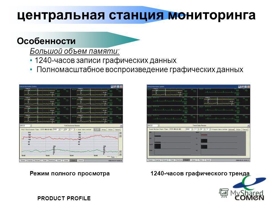 PRODUCT PROFILE центральная станция мониторинга Особенности Большой объем памяти: 1240-часов записи графических данных Полномасштабное воспроизведение графических данных 1240-часов графического трендаРежим полного просмотра