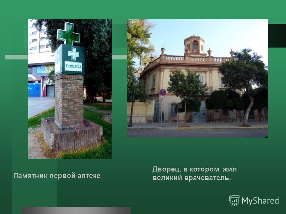 Памятник первой аптеке Дворец, в котором жил великий врачеватель.