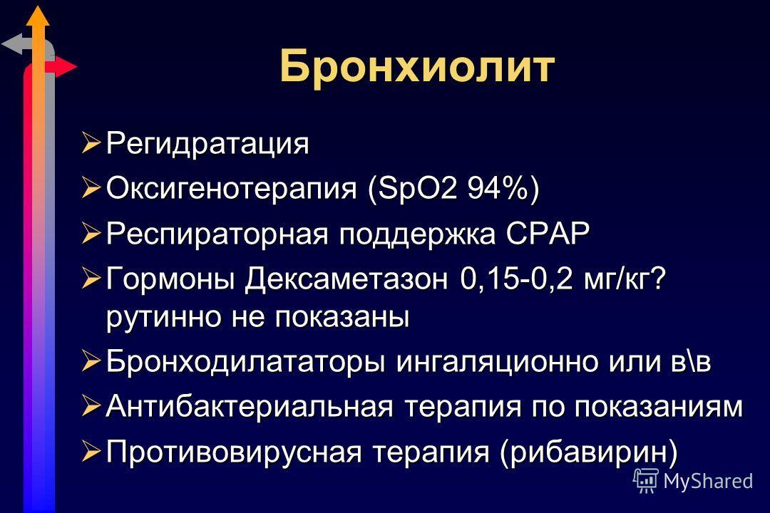 Бронхиолит Регидратация Регидратация Оксигенотерапия (SpO2 94%) Оксигенотерапия (SpO2 94%) Респираторная поддержка СРАР Респираторная поддержка СРАР Гормоны Дексаметазон 0,15-0,2 мг/кг? рутинно не показаны Гормоны Дексаметазон 0,15-0,2 мг/кг? рутинно