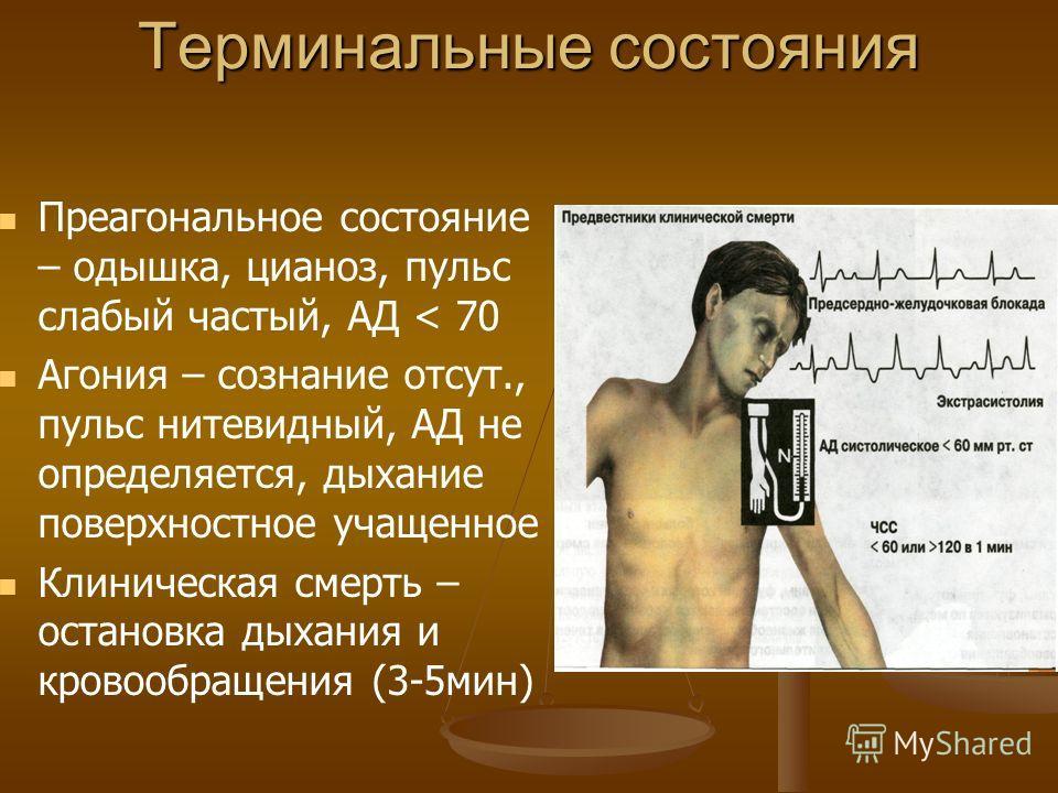 Терминальные состояния Преагональное состояние – одышка, цианоз, пульс слабый частый, АД < 70 Агония – сознание отсут., пульс нитевидный, АД не определяется, дыхание поверхностное учащенное Клиническая смерть – остановка дыхания и кровообращения (3-5