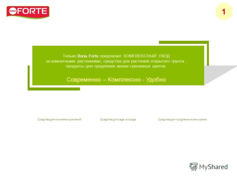 Bona Forte Только Bona Forte предлагает КОМПЛЕКСНЫЙ УХОД за комнатными растениями, средства для растений открытого грунта, продукты для продления жизни срезанных цветов. Современно – Комплексно - Удобно 1 Средства для комнатных растенийСредства для с