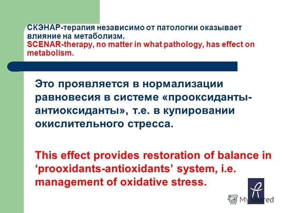 СКЭНАР-терапия независимо от патологии оказывает влияние на метаболизм. SCENAR-therapy, no matter in what pathology, has effect on metabolism. Это проявляется в нормализации равновесия в системе «прооксиданты- антиоксиданты», т.е. в купировании окисл