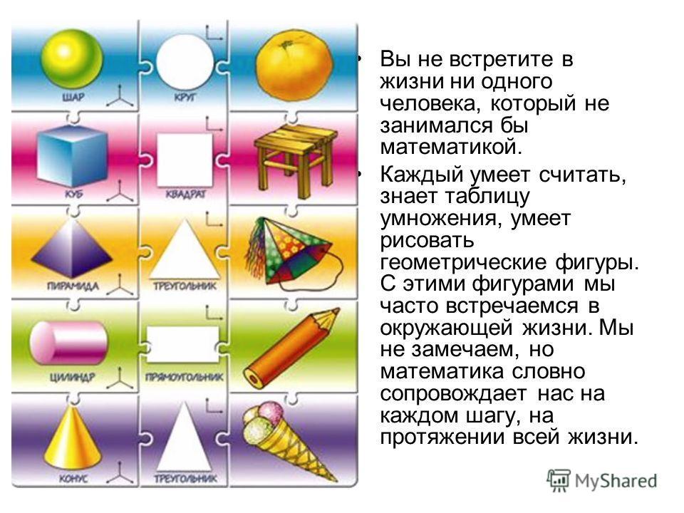 Вы не встретите в жизни ни одного человека, который не занимался бы математикой. Каждый умеет считать, знает таблицу умножения, умеет рисовать геометрические фигуры. С этими фигурами мы часто встречаемся в окружающей жизни. Мы не замечаем, но математ