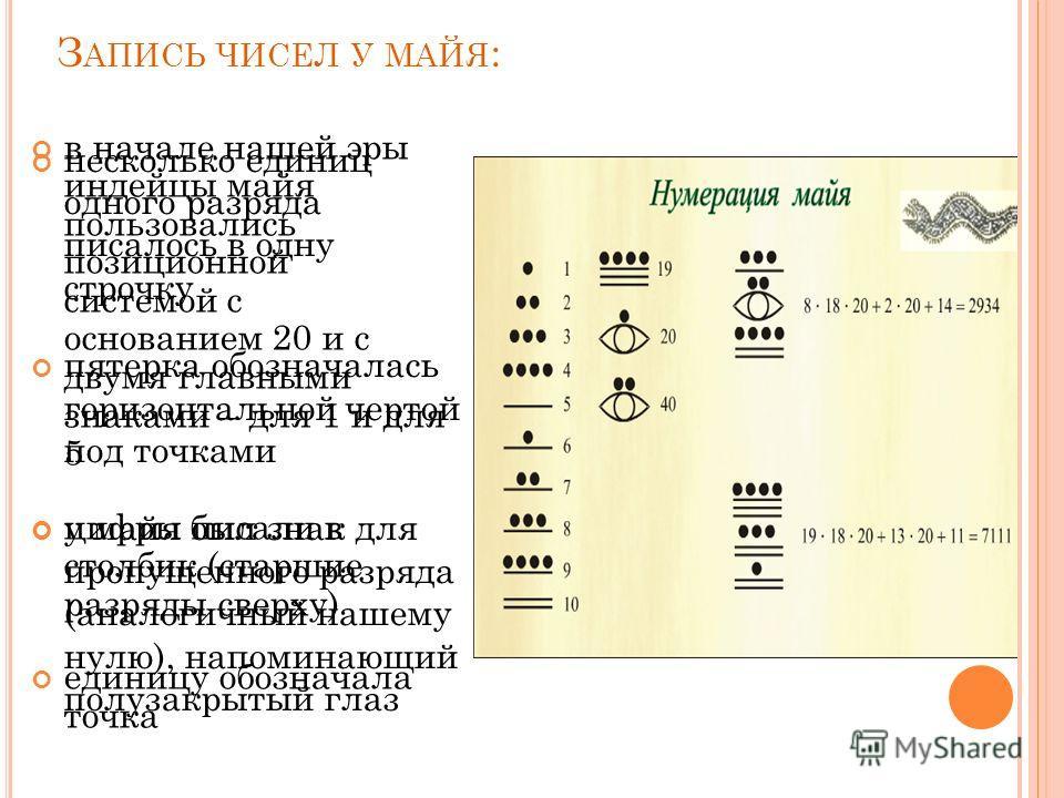 З АПИСЬ ЧИСЕЛ У МАЙЯ : в начале нашей эры индейцы майя пользовались позиционной системой с основанием 20 и с двумя главными знаками – для 1 и для 5 цифры писали в столбик (старшие разряды сверху) единицу обозначала точка несколько единиц одного разря