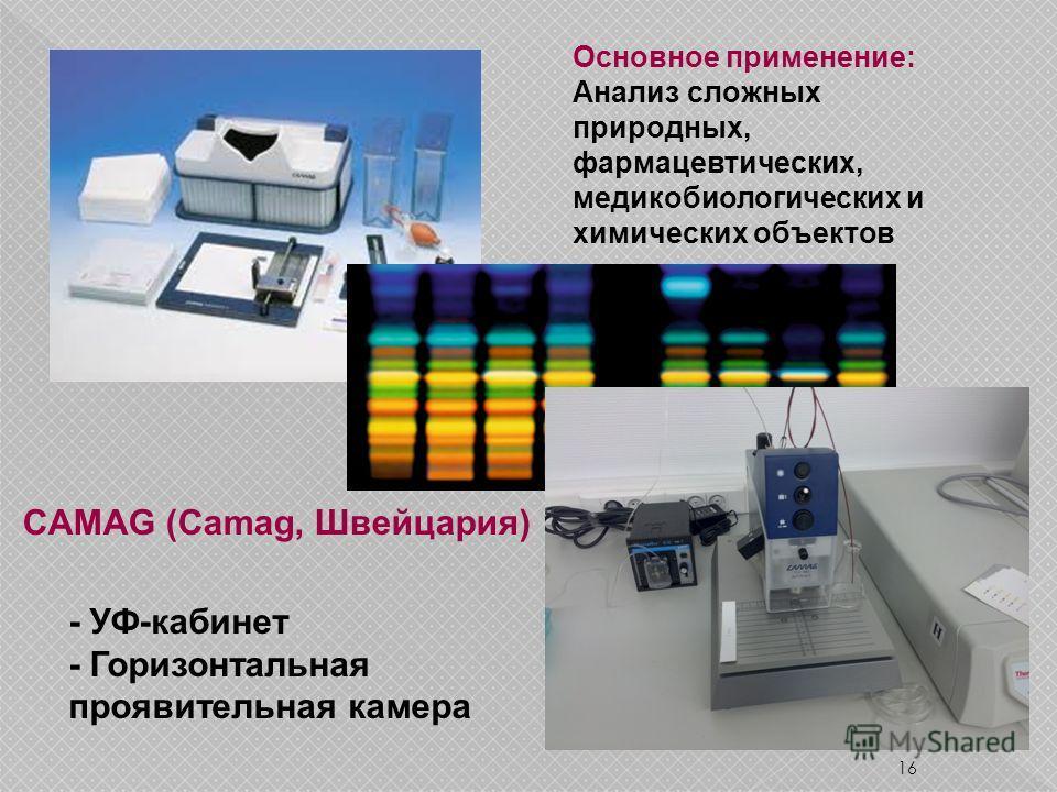 16 - УФ-кабинет - Горизонтальная проявительная камера CAMAG (Camag, Швейцария) Основное применение: Анализ сложных природных, фармацевтических, медикобиологических и химических объектов